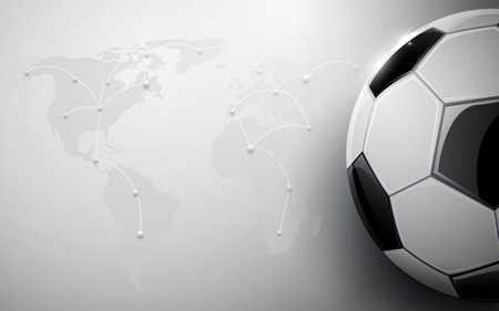 Soccer ball and world map connection background