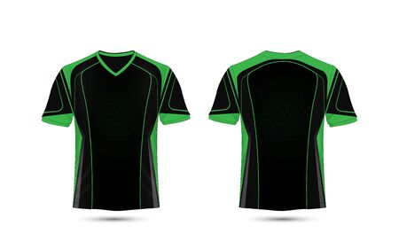 Green and black layout e-sport t-shirt design template Ilustrace