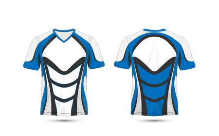White, blue and black layout e-sport t-shirt design template Ilustrace