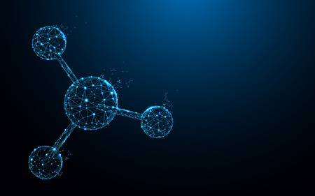 Die Molekülstruktur bildet Linien, Dreiecke und Partikel. Illustrationsvektor Vektorgrafik