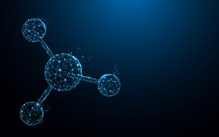 Moleculaire structuur vormt lijnen, driehoeken en ontwerp in deeltjesstijl. Illustratie vector Vector Illustratie