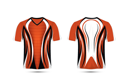 Orange, white and black layout e-sport t-shirt design template