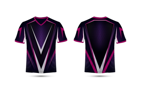 Purple, pink and black layout e-sport t-shirt design template