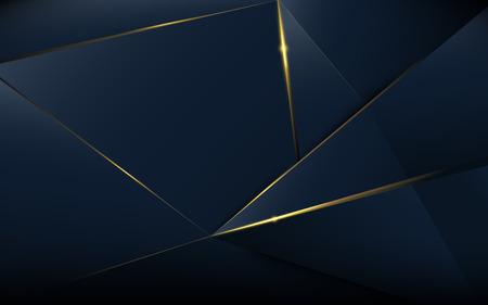Patrón poligonal abstracto de lujo azul oscuro con oro
