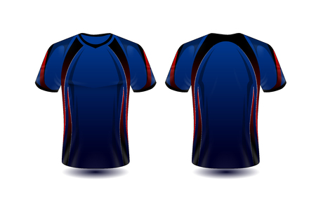 blue, red and black layout e-sport t-shirt design template Stock Illustratie
