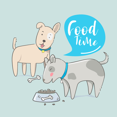 Cute dog eating food with hand drawn