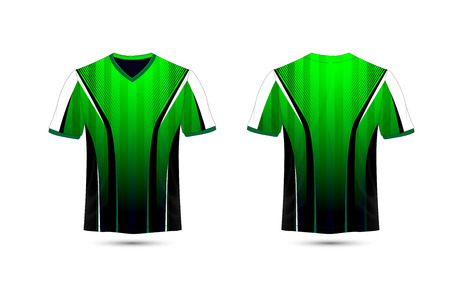 Green, white and black layout e-sport t-shirt design template