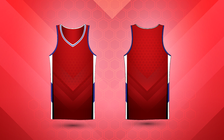 Red and white layout sport shirt design template Illustration