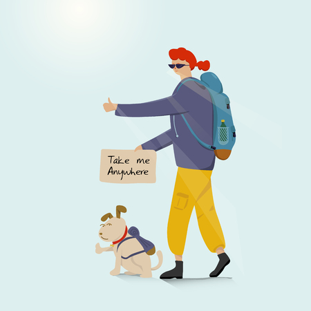 Young backpacking adventurous woman with a dog and hitchhiking on the road. Cartoon and Illustration vector Stock Illustratie