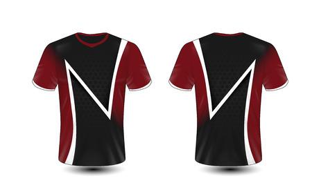 Zwart, rood en wit lay-out e-sport t-shirt ontwerpsjabloon