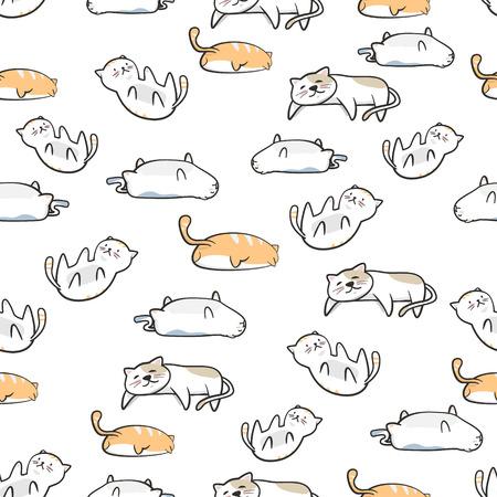 Dibujos animados lindo gato de patrones sin fisuras con estilo dibujado a mano