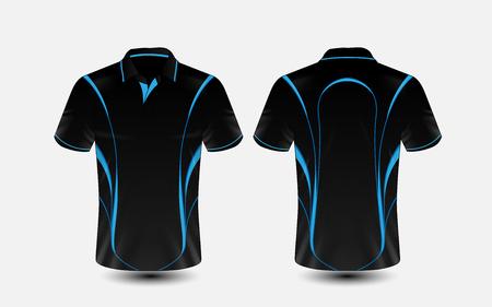 Blauw en zwart lay-out e-sport t-shirt ontwerpsjabloon