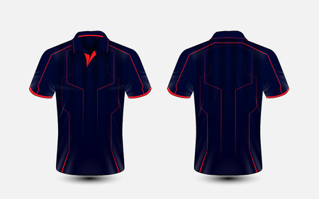 Blue and red lines layout e-sport t-shirt design template