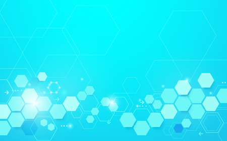 Abstract blue geometric hexagon shape and lines with science concept background