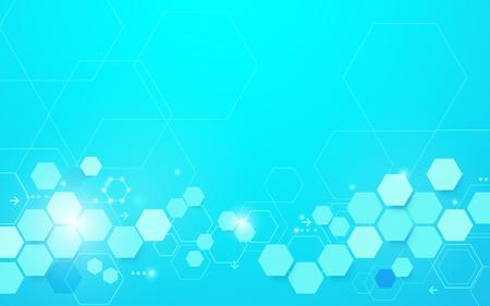 Forma e linee geometriche blu astratte di esagono con il fondo di concetto di scienza