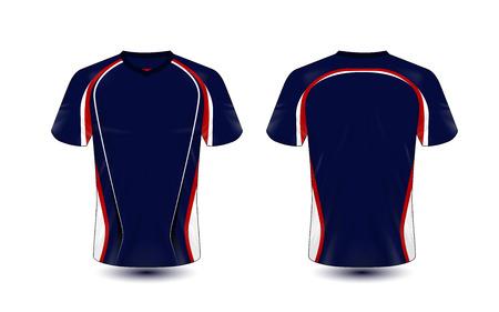 Blauwe en rode lay-out e-sport t-shirt ontwerpsjabloon