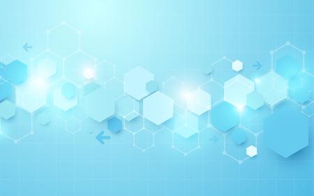 Abstract blue geometric hexagon Futuristic concept background Stock Illustratie