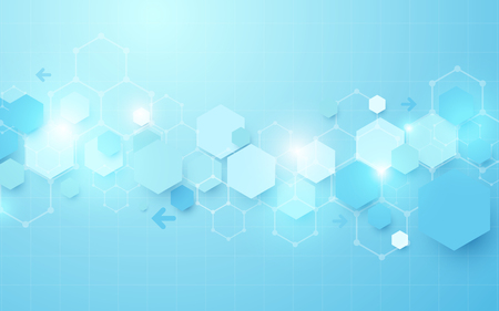 Abstract blue geometric hexagon Futuristic concept background