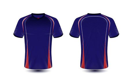 Blauwe en rode lay-out e-sport t-shirt ontwerpsjabloon Vector Illustratie