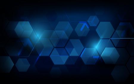 Fond de concept futuriste abstrait hexagone géométrique bleu foncé