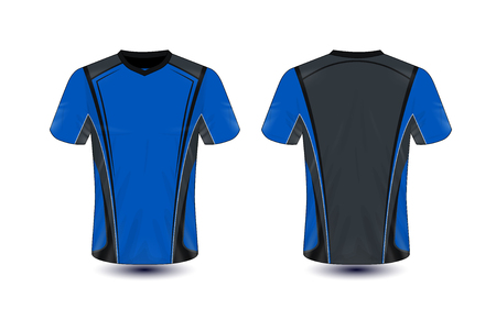 Blue and black layout e-sport t-shirt design template Stock Illustratie