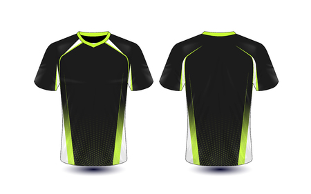 Black and green layout e-sport t-shirt design template Stock Illustratie