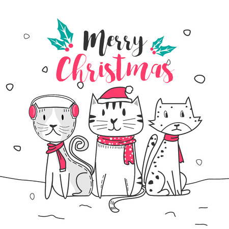 Cute cat and merry christmas with Doodle cartoon style