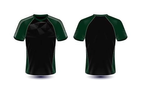 black and green layout e-sport t-shirt design template Stock Illustratie