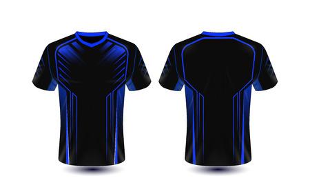 Zwart en blauw lay-out e-sport t-shirt ontwerpsjabloon
