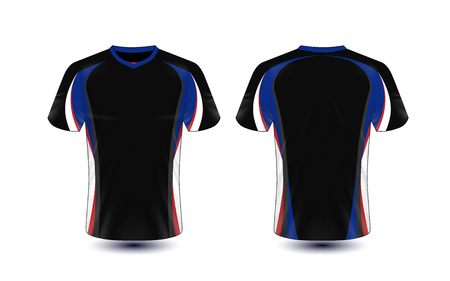 Black, blue, white and red layout e-sport t-shirt design template