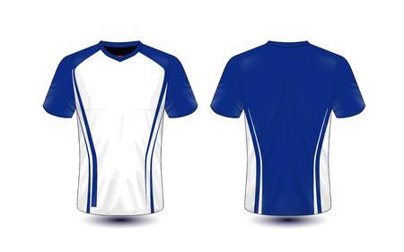 Witte en blauwe lay-out e-sport t-shirt ontwerpsjabloon