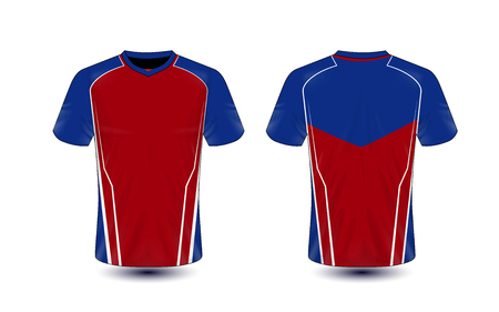 Red, blue and white layout e-sport t-shirt design template Stock Illustratie
