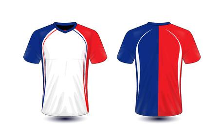 Wit, blauw en rood lay-out e-sport t-shirt ontwerpsjabloon Vector Illustratie