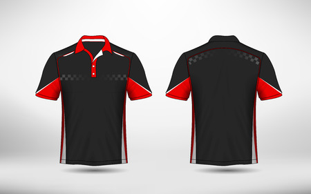 Red, black and white layout e-sport t-shirt design template
