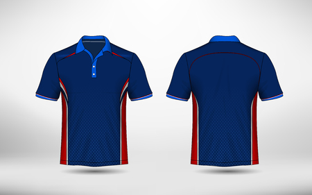 Blauw, rood en wit lay-out e-sport t-shirt ontwerpsjabloon