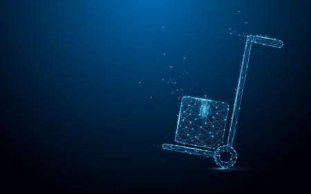 Diseño de líneas, triángulos y partículas de forma de entrega de carro de mano. Vector de ilustración Ilustración de vector