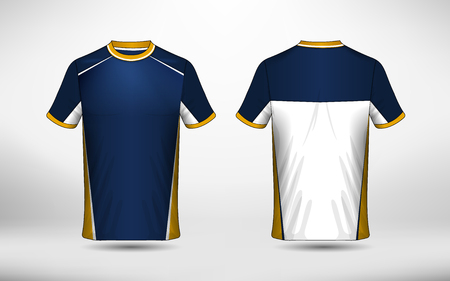 Blue white and yellow layout e-sport t-shirt design template