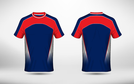 Blue white and red layout e-sport t-shirt design template