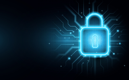 Padlock on circuit board with Cyber security background Stock Vector - 127711660