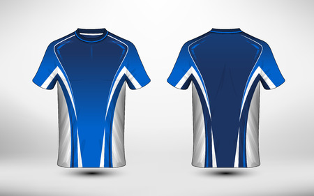 Blue and white layout e-sport t-shirt design template. Illustration vector