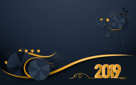 Happy new year 2019. Luxury gold and dark blue with Oriental Blooming Flowers paper cut art and craft style background