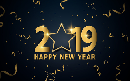 Happy new year 2019. Luxury gold with stars and ribbons background Stock Vector - 127501824