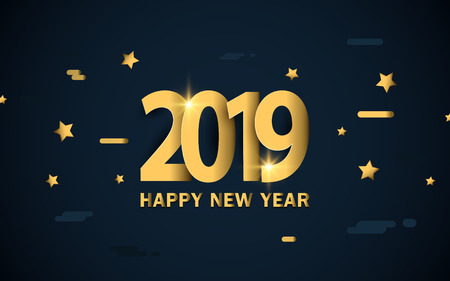 Happy new year 2019. Luxury gold with stars and sparkles background Stock Vector - 127501825