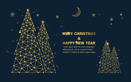 Merry Christmas. happy new year. Luxury gold christmas tree with stars and sparkles background Stock Vector - 127501829