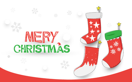 Merry Christmas. happy new year. Christmas socks on white background