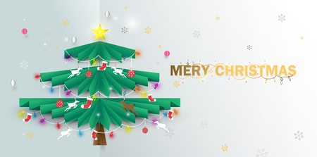 Merry Christmas. happy new year. Christmas tree and ornaments Illustration