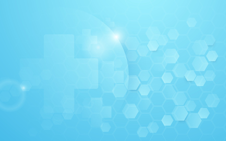 Medicine and science with Abstract digital hi tech hexagons on blue background Illustration