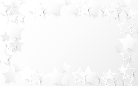 Abstract white stars on white background