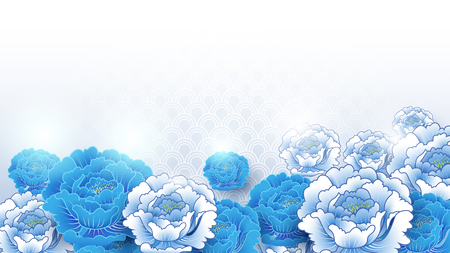 Asian traditional blue and white floral background