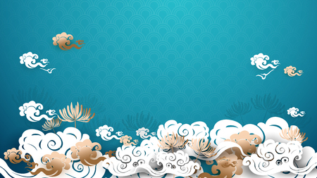 Asian traditional gold and white floral with clouds background Illustration